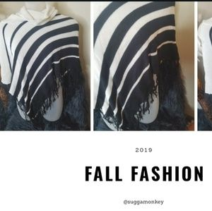 Striped shawl, plus size one size fits all